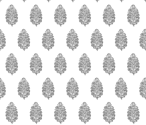 mughal flower black and white indian block print india flower fabric by jenlats on Spoonflower - custom fabric
