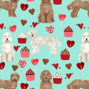 labradoodle valentines day cupcakes unique dog breed fabric mint