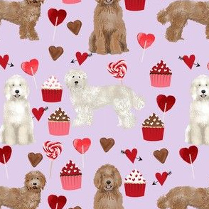 labradoodle valentines day cupcakes unique dog breed fabric purple