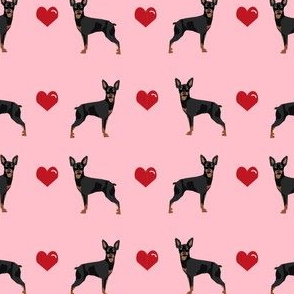 miniature pinscher love hearts dog fabric doberman pinscher miniature pink