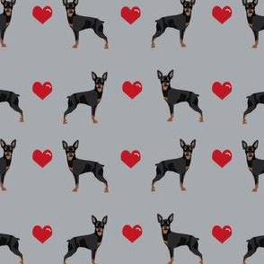 miniature pinscher love hearts dog fabric doberman pinscher miniature grey
