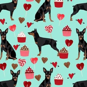 miniature pinscher valentines day dog fabric doberman pinscher miniature mint