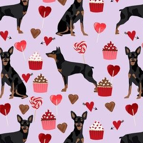 miniature pinscher valentines day dog fabric doberman pinscher miniature purple