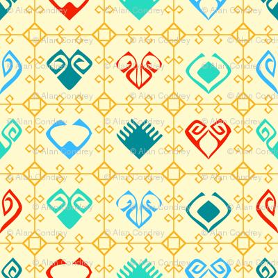 Kilim Grid With Hearts - Yellow