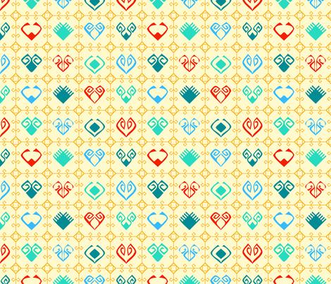 Kilim Grid With Hearts - Yellow fabric by azureimagestudio on Spoonflower - custom fabric
