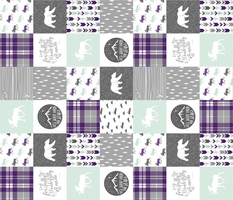 fearfully and wonderfully made (90) - dark purple and mint fabric by littlearrowdesign on Spoonflower - custom fabric