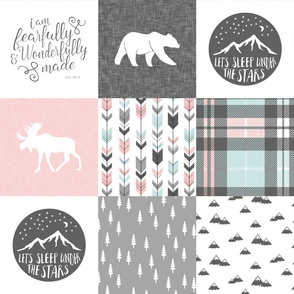 fearfully and wonderfully made - pink, grey, aviary blue - 3 color plaid patchwork fabric