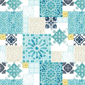 Moroccan ceramic pattern collage in gold