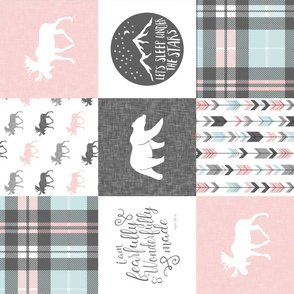 fearfully and wonderfully made - pink, grey, aviary blue - 3 color plaid patchwork fabric (90)