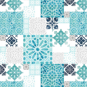 Moroccan ceramic pattern collage in silver