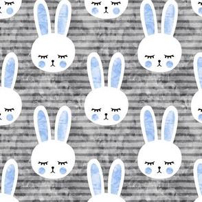 bunnies on grey (sleepy bunny) blue