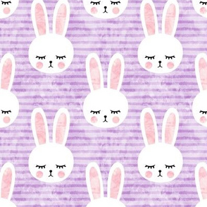bunnies on purple (sleepy bunny)