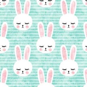 bunnies on aqua (sleepy bunny)