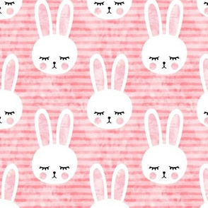 bunnies on pink (sleepy bunny)