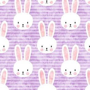 bunnies on purple stripes