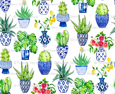 Chinoiserie Cactus in Blue and White