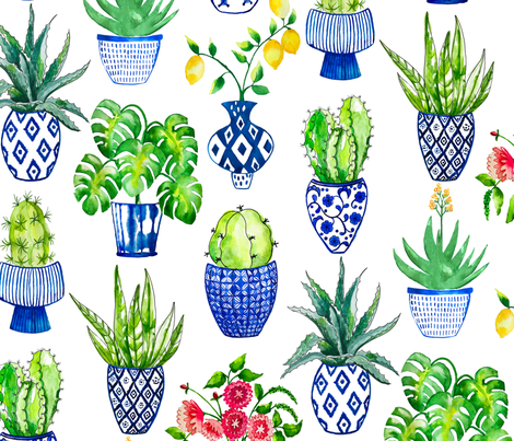 Chinoiserie Cactus in Blue and White fabric by limezinniasdesign on Spoonflower - custom fabric