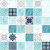 Moroccan tile pattern grid in silver
