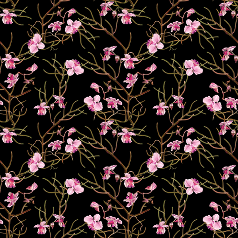 "4"" Pink Orchids - Black fabric by shopcabin on Spoonflower - custom fabric"