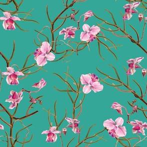 """8"""" Pink Orchids - Aqua Green"""