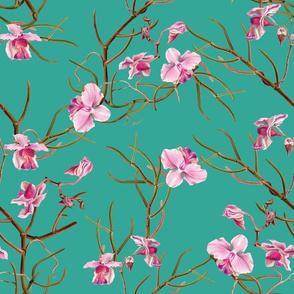 """14"""" Pink Orchids - Aqua Green"""