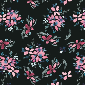 Pink and Blue Floral on Dark
