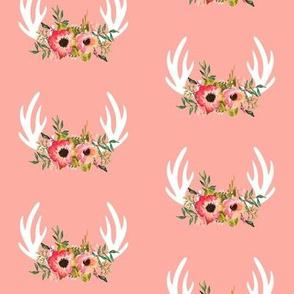 Floral Antlers (peach) - Coral Flowers Baby Girl Nursery Bedding GingerLous