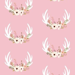 Floral Antlers (soft pink) - Blush Flowers Baby Girl Nursery Bedding GingerLous