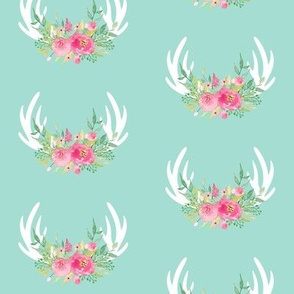 Floral Antlers (mint) - Pink Flowers Baby Girl Nursery Bedding GingerLous