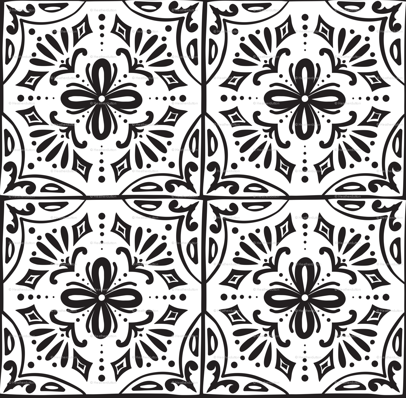 Sevilla - Spanish Tiles Coloring Book Style fabric - heatherdutton ...