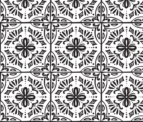 Sevilla - Spanish Tiles Coloring Book Style fabric by heatherdutton on Spoonflower - custom fabric