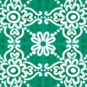 Spanish Tile N1 (Pantone Arcadia Green) reversed