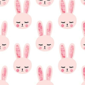 pink bunnies on white