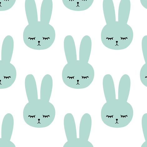 dark mint bunnies  fabric by littlearrowdesign on Spoonflower - custom fabric