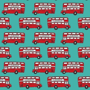 london bus // england tourist double decker bus iconic fabric turquoise