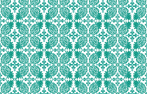 Spanish Tile N6 Pineapple (Pantone Arcadia Green) fabric by helenpdesigns on Spoonflower - custom fabric