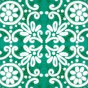 Spanish Tile N4 (Pantone Arcadia Green) reversed