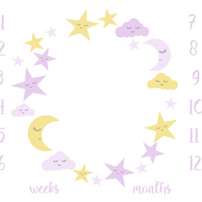 "42"" x 36"" one yard milestone blanket - moon and stars, lavender and yellow"