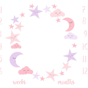 "42"" x 36"" one yard milestone blanket - moon and stars, lavender and pink"