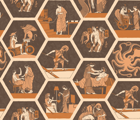 Ancient greeks with modernday tech! fabric by cynthiahoekstra on Spoonflower - custom fabric