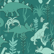 Cute dinosaurs and tillandsias succulents. Dino and plants fabric. Green.2