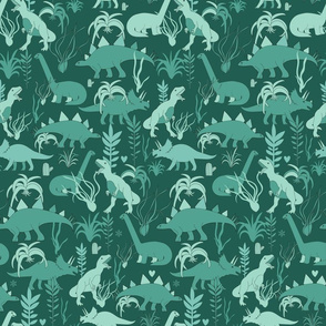 Cute dinosaurs and tillandsias succulents. Dino and plants fabric. Green.