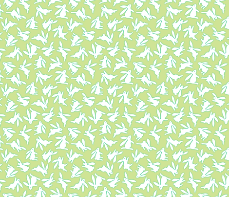 Bunch O Bunnies Green fabric by margodepaulis on Spoonflower - custom fabric