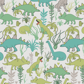 Cute dinosaurs and tillandsias succulents. Dino and plants fabric. Large
