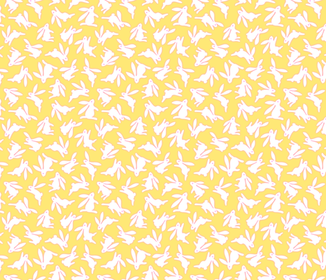 Bunch O Bunnies Yellow fabric by margodepaulis on Spoonflower - custom fabric