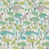 Cute dinosaurs and tillandsias succulents. Dino and plants fabric. Medium