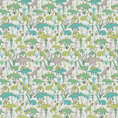 Cute dinosaurs and tillandsias succulents. Dino and plants fabric. Small