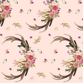 Antlers & Flowers (baby pink) - Pink Floral Feathers Deer Antler Baby Girl Nursery Bedding (ROTATED)