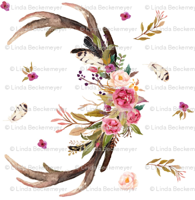 Antlers Amp Flowers Rotated Pink Floral Feathers Deer