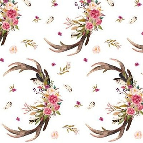 Antlers & Flowers (ROTATED) - Pink Floral Feathers Deer Antler Baby Girl Nursery Crib Sheets Bedding
